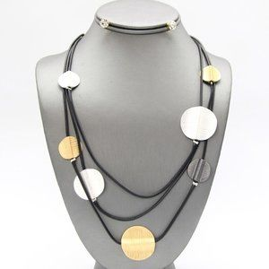 Jewelry - Gold, Silver, Hematite Disc Layered Necklace Set